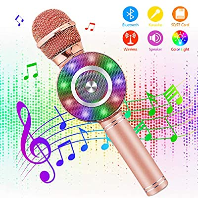 Wireless Karaoke Microphone - NASUM 3-in-1 Portable Karaoke Player Built in bluetooth 4.1 Speaker Machine for Android/IOS, PC or All Smart-phone, for Singing/Karaoke/Recording (rose gold)