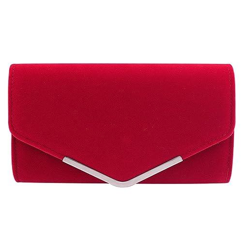 96d14b9704 Clasichic Elegant Womens Suede Velvet Envelope Clutch Bag Ladies Shoulder  Evening Prom Handbag