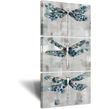 Ihappywall 3 Pieces Dragonfly Canvas Wall Art Beautiful Blue Dragonfly Abstract Insect Grey Artwork Giclee Print Gallery Wrap For Home Bedroom Decor Ready To Hang 16x24inchx3pcs Posters Prints
