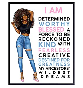 Motivational Black Wall Art for Latino Hispanic Ethnic African American Women - Inspirational Positive Quotes Home Decor Poster for Girls Room, Teens Bedroom, Bathroom - Encouragement Gifts for Women