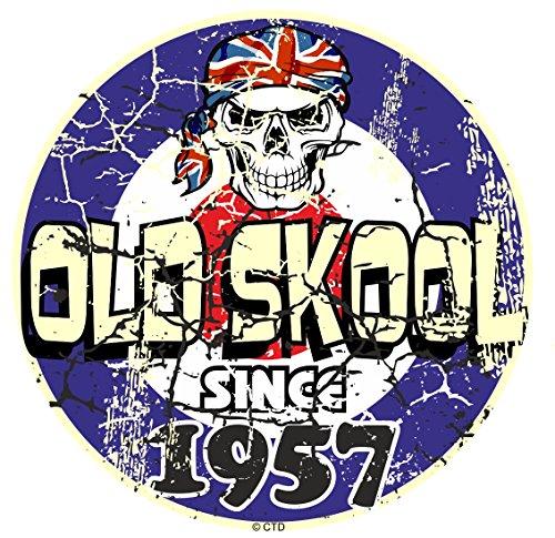 Effet vieilli vieilli vintage style old skool depuis 1957 Rétro Mod RAF Motif cible et crâne vinyle Sticker Autocollant Voiture ou scooter 80 x 80 mm