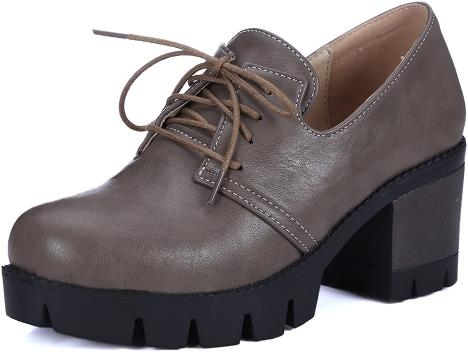 Lucksender Womens Vintage Style Chunky Heel Lace Up Casual shoes
