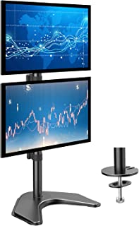 HUANUO Dual Monitor Stand - Vertical Stack Screen Free-Standing Holder LCD Desk Mount Fits Two 13 to 32 Inch Computer Monitors with C Clamp Grommet Base