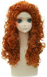 BERON 22 Inches Long Curly Orange Color Wigs with Natural Loose for Cosplay Costume Party Wig Cap Included