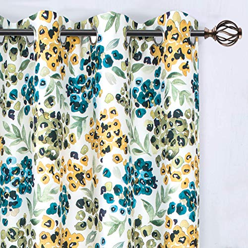 DriftAway Oliver Watercolor Flower Botanical Pattern Energy Saving Thermal Insulated Blackout Lined Grommet Window Curtain 2 Panels 52 Inch by 84 Inch Yellow Green