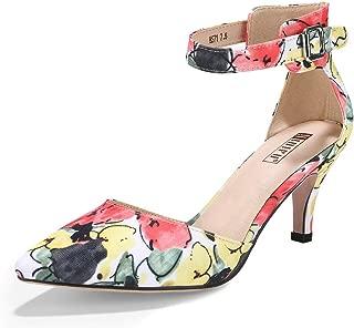 IDIFU Women's IN3 D'Orsay Pointed Toe Ankle Strap Mid Heel Low Kitten Dress Pump Shoes