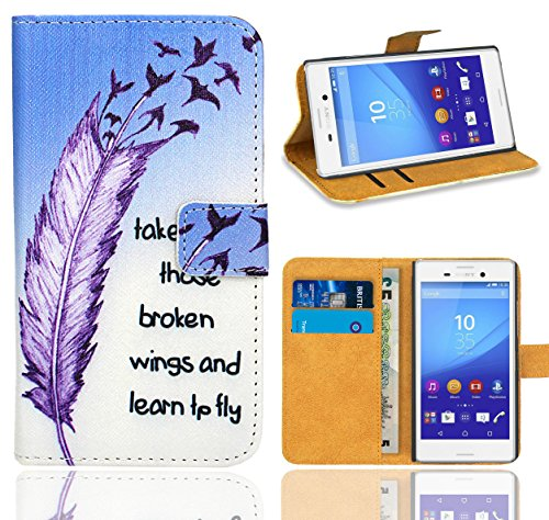 Sony Xperia M4 Aqua Handy Tasche, FoneExpert® Wallet Hülle Flip Cover Hüllen Etui Ledertasche Lederhülle Premium Schutzhülle für Sony Xperia M4 Aqua (Pattern 7)
