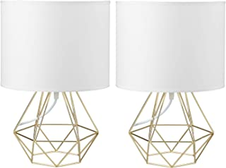 2X Modern Vintage Style Table Lamps - FRIDEKO Ecopower Minimalist Bedside Lamp Night Light Hollowed Out Cage Base with Fabric Shade Desk Lighting Fixture for Bedroom Living Kids Room, White - Gold