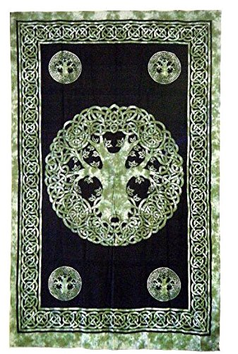 Beautiful Green Celtic Tree of Life Tapestry 72' x 108'