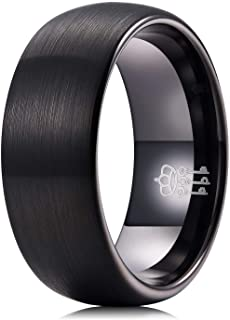 THREE KEYS JEWELRY Mens Women Black Tungsten Wedding Band 2mm 4mm 6mm 8mm Engagement Ring
