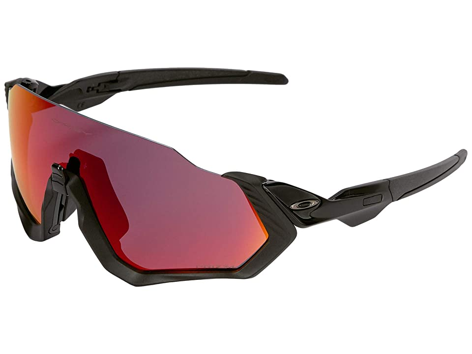 Oakley Flight Jacket (Polished Black/Matte Black w/ Prizm Road) Sport Sunglasses