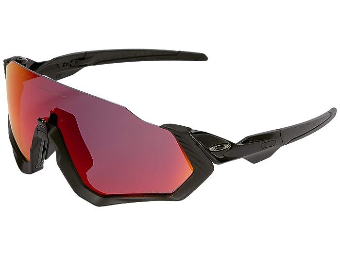 Oakley Flight Jacket (Polished Black/Matte Black w/ Prizm Road) Sport Sunglasses