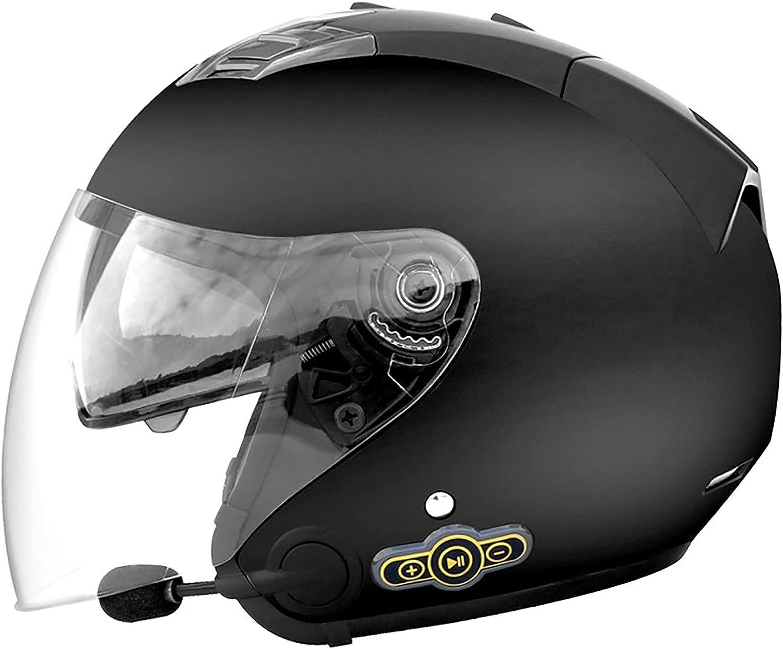 Medio Abierto Casco de Moto con Bluetooth Integrado,ECE Homologado Casco Moto Jet Scooter para Mujer Hombre Adultos,con un Micrófono Incorporado Doble Visera A,XL=61~62cm