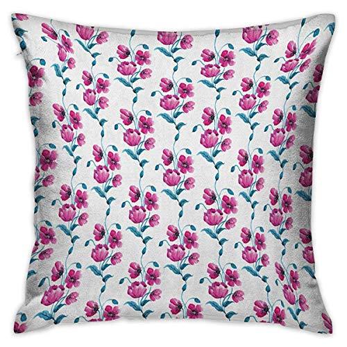 Fodere per cuscini quadrati con fiori Papaveri Design ornamentale in stile vintage Foglie boccioli Botanica Opere d'arte Fodere per cuscini fucsia e blu petrolio Federe per divano Camera da letto Auto
