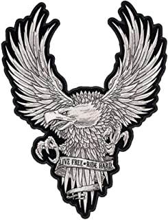 Live Free Ride Hard White Subdued Eagle Patch, Large Size