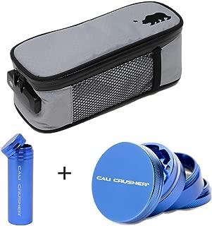 Cali Crusher® Soft Case (9.5in x 4in x 3.5in) Gray + Cali Crusher® Herb Grinder 4 Piece + Cali Crusher® Pocket Storage (Blue)