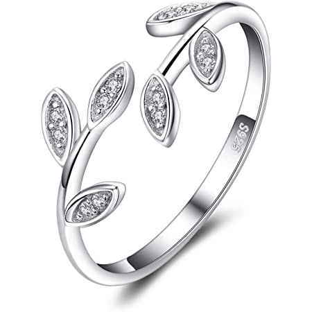 JewelryPalace Olive Leaf Cubic Zirconia Open Adjustable Rings, White Gold Plated 925 Sterling Silver Rings for Women, Simulated Diamond Cuff Finger Thumb Band Ring, Girls Womens Jewellery Gifts