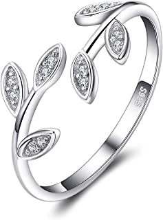 JewelryPalace Anelli Donna Argento 925, Foglia di Olivo Anelli Donna Regolabili, Diamante Simulato Zirconi Anniversario Ma...