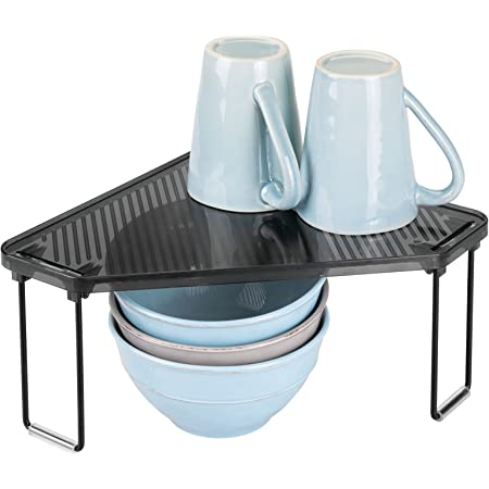 mDesign étagère cuisine en plastique et métal – rangement cuisine autoportant pour plan de travail et armoire – range vaisselle optimisant l'espace de la cuisine au maximum – noir/gris