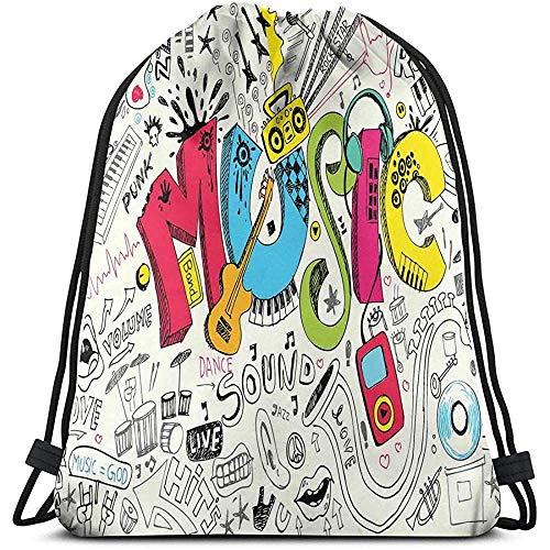 Lemotop Rugzakken Tassen, Pop Art Featured Doodle Stijl Muziek Achtergrond Met Instrumenten Geluid Art Illustratie, Verstelbaar