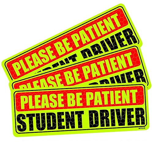 Botocar Student Driver Magnet for Car, Be Patient Student Driver, Magnetic Reflective Rookie Bumper Magnet, New Drivers Vehicle Safety Sign, Yellow Large Bold Text 10 x 3.5 Inch, Set of 3