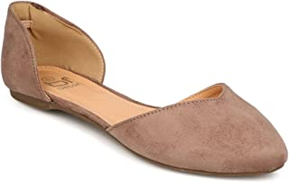 Women Faux Suede Pointy Toe D'Orsay Ballerina Flat FC81 - Taupe