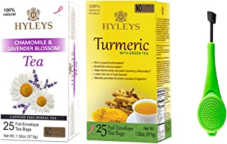 Hyleys Anti-Inflammatory Tea - 2 Pack (Chamomile & Lavender Blossom and Turmeric with Green Tea) 50 Tea Bags with a Tea Infuser