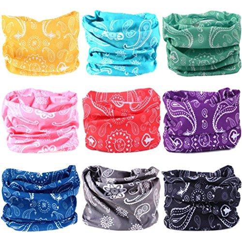 VANCROWN Headwear Wide Headbands Scarf Head Wrap Mask Neck Warmer (9PC.Paisley Series.1)