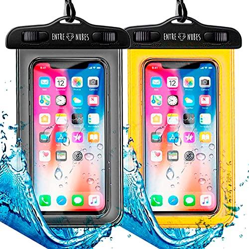 Pack de 2 Fundas Impermeable, Bolsa Sumergible para iPhone XR, XS, X, SE, 11, 9,8,7,6, Samsung S20 Plus A71 Xiaomi Mi 10 Huawei P30 BQ Aquaris