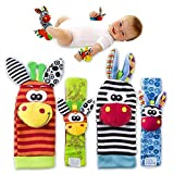 4 x Cute Animal Infant Baby Plüschtiere - Unisex-Armbanduhr und Socken für 0-12 Monate Baby (2pieces Handgelenk + 2pieces Socken) (bee)