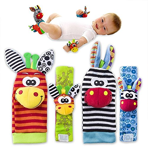 4 x Cute Animal Infant Baby Plüschtiere - Unisex-Armbanduhr und Socken für 0-12 Monate Baby (2pieces Handgelenk + 2pieces Socken) (bee)