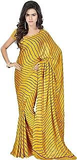 ساري كريب نقي ذهبي للنساء مع بلوزة غير مخيطة