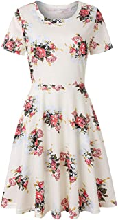 Women's Dresses, Summer New Style Printing Hedging Dress Round Neck T-Shirt Midi Dress Holiday Outside