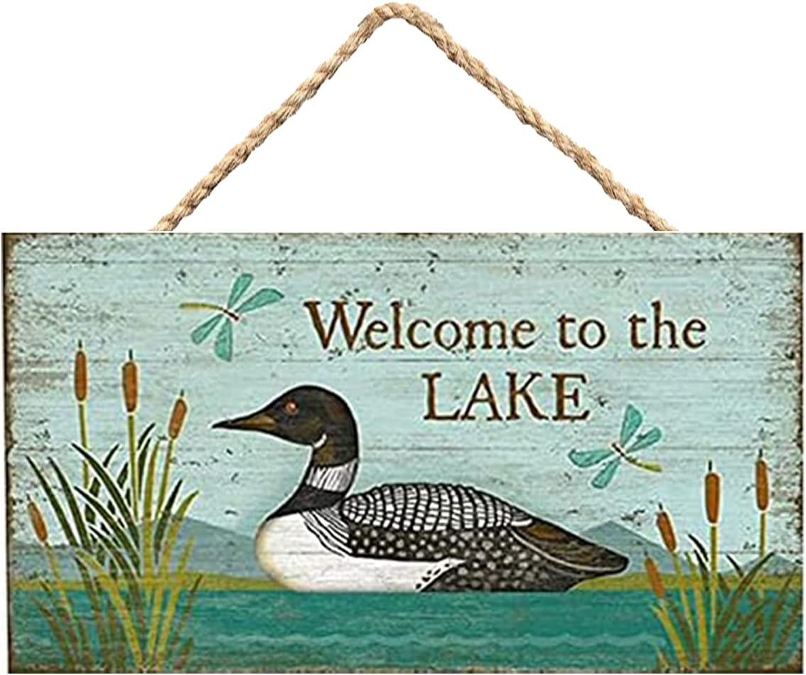 Welcome to The Lake Loon Bird Wooden Sign Wall Hanging Home Decor Cabin Sign 20x30cm / 8x12 inch