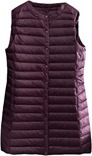 Macondoo Women Cotton-Padded Quilted Puffer Button Waistcoat Jacket Vest