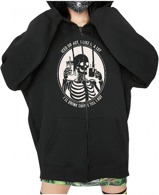 UOCUFY Hoodies for Women, Womens Y2k Zip Up Halloween Skeleton Graphic Oversized Pullover Sweatshirt Jacket with Pockets