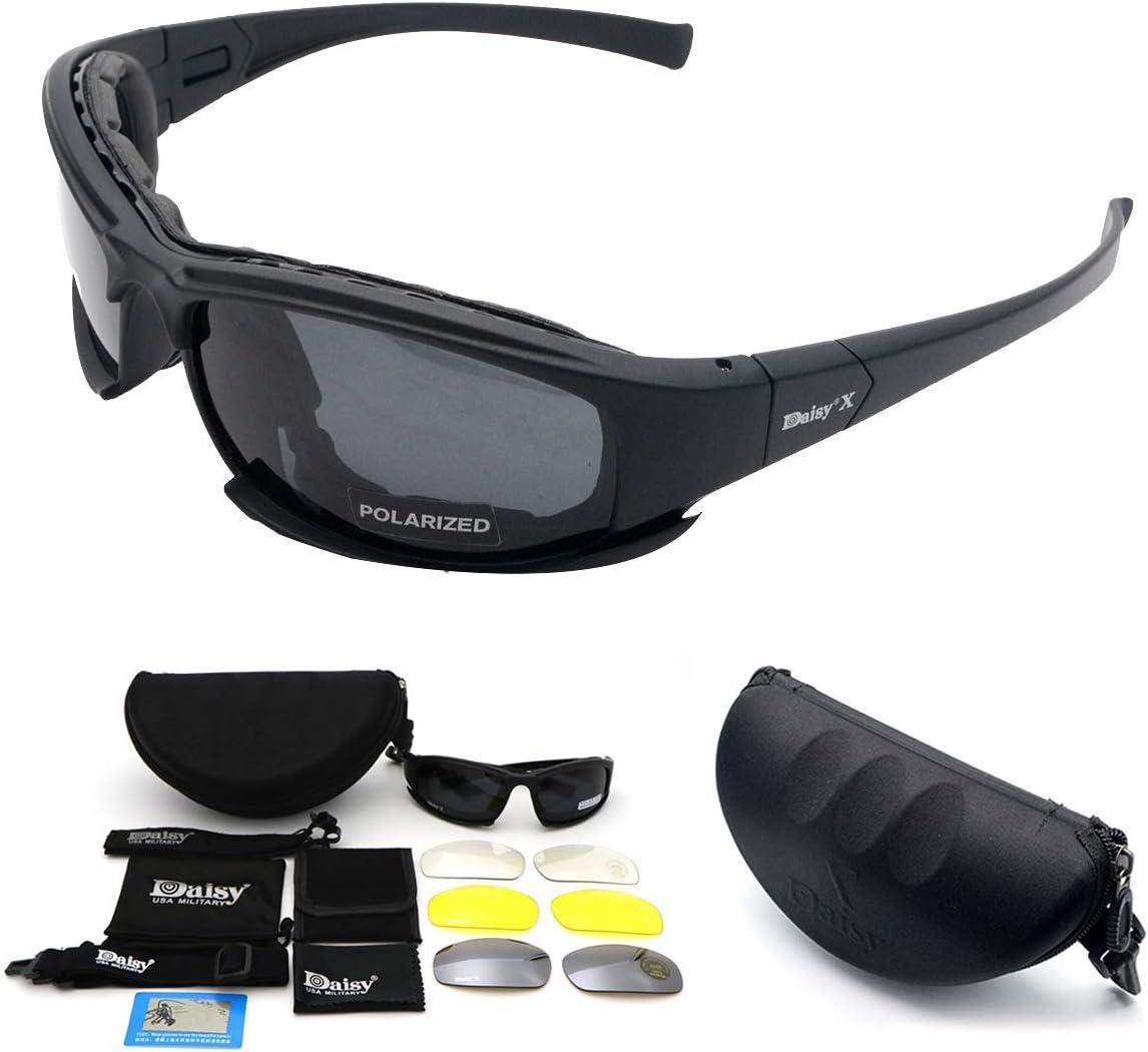 SANWAN Gafas de sol deportivas polarizadas, X7, gafas tácticas militares, con 4 lentes intercambiables, gafas protectoras para hombres y mujeres en correr, ciclismo, esquí, pesca