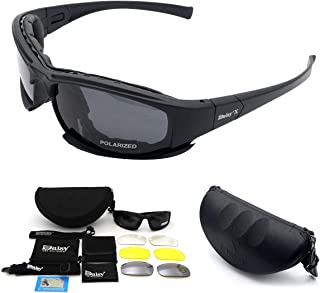 Bessie Sparks Ltd X7 Army Sunglasses Military Tactical Goggles Polarized Lens Glasses 4 Lens kit,Black Frame