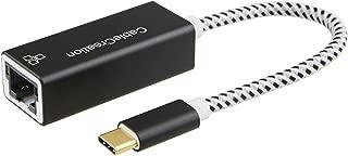 USB-C 有線LAN アダプタ, CableCreation USB Type C to RJ45 ギガビットイーサネット LAN ネットワークアダプター USB-C to Ethernet アダプタ 小型設計 ドライブ不要 (ご注意:Xperia XZ1/Xperia XZ3非対応)ブラックとホワイト