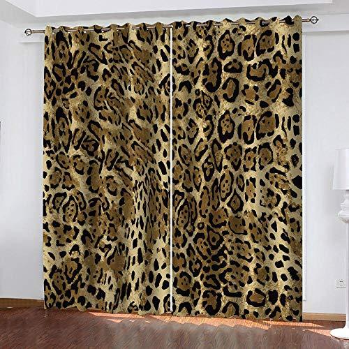 CGZLNL Cortinas Opacas Cortinas de Impresión 3D Mancha de Leopardo Animal Cortinas termicas con Ojales para Dormitorio Salón Poliéster Cortina 2 Paneles 117x137 cm A x A