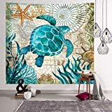 Tapiz para colgar en la pared, diseño de tortuga marina, color azul,...