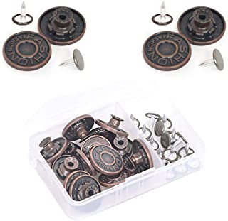 16 Sets Replacement Jean Buttons Metal Snap Buttons with Rivets in Plastic Storage Box, Two Size (8 Sets for Each 17mm and 20mm)