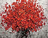 yyyaa DIY Pintura Adulta por Pintura número Resumen de Flor roja DIY Número de Prensa Set niños decoración de la Pared artesanía Pintura acrílica 40x50cm (sin Marco)