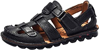 Mens Leather Sandals Flats Beach Walking Non-SlipSoft Bottom Casual Summer Shoes