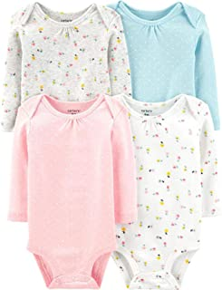 Carter's Baby 4 Pack Long Sleeve Bodysuit Set, Floral, 12 Months