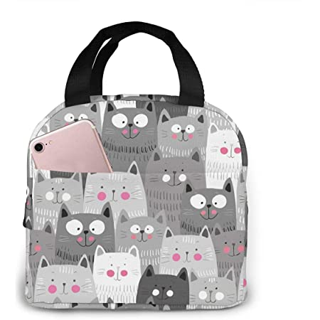 Cute Kitty Cats Kittens Lunch Bag Insulated Lunch Box Waterproof Meal Prep Cooler Tote For Picnic Camping Work Travel