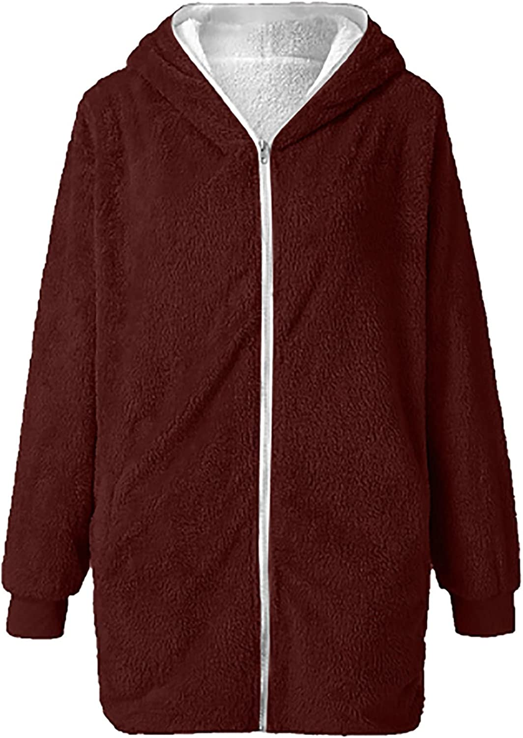 Womens Solid Oversized Zip Down Hooded Coat Cardigans Outwear With Pocket Raincoat