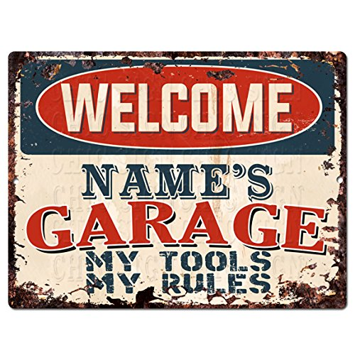 "Welcome Name's Garage My Tools My Rules Custom Personalized Tin Chic Sign Rustic Vintage Style Retro Kitchen Bar Pub Coffee Shop Decor 9""x 12"" Metal Plate Sign Home Store Man cave Decor Gift Ideas"