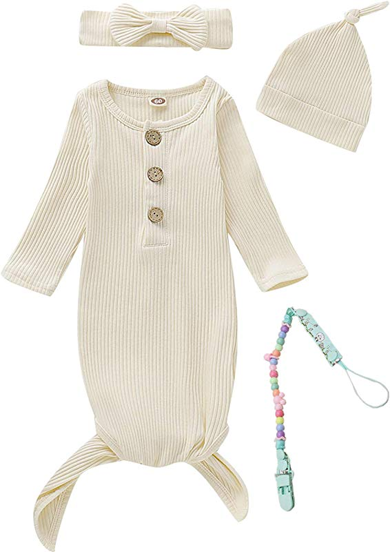 Dramiposs 4Pcs Newborn Girls Boys Nightgowns Infant Sleepwear Long Sleeve Outfit With Pacifier Clip