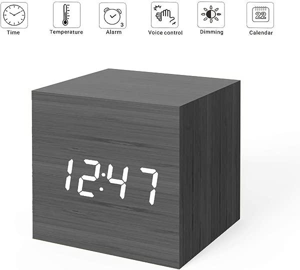 MiCar Digital Alarm Clock Wood LED Light Mini Modern Cube Desk Alarm Clock Displays Time Date Temperature Kids Bedroom Home Dormitory Travel Black